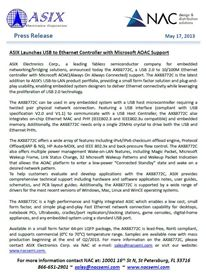ASIX Launches USB to Ethernet Controller with Microsoft AOAC Support.