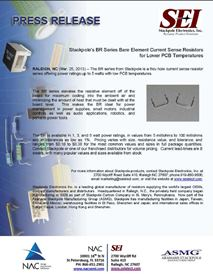 SEI releases New Bare Element Current Sense Resistors