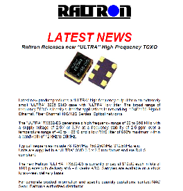 "Raltron Releases new ""ULTRA"" High Frequency TCXO"