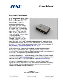 ILSI Releases Quick Delivery Configurable VCXO
