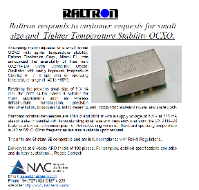 Raltron responds to customer requests for small size and  Tighter Temperature Stability OCXO