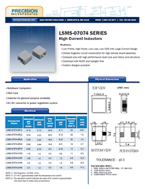 Precision Inc presents LSMS-07074 Series - High Current Inductors