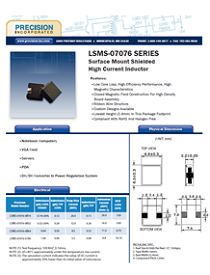 Precision Inc. presents LSMS-07076 SERIES - Surface Mount Shielded High Current Inductor