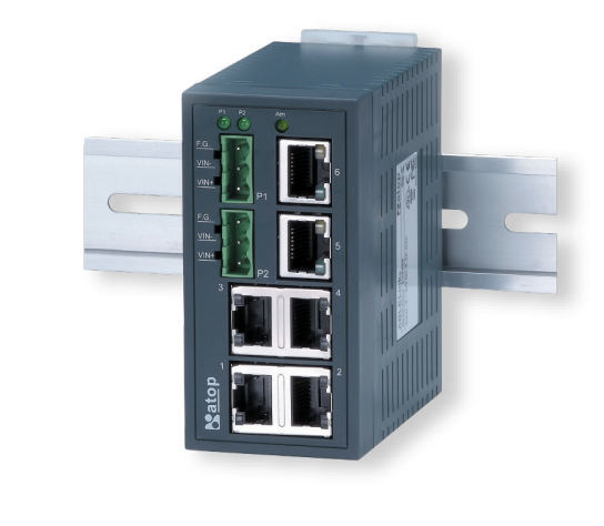 Industrial 8-Port Unmanaged Fast-Ethernet Switch, DIN-Rail mount