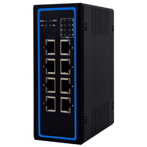 Industrial 8-port unmanaged 24V PoE Gigabit Switch with voltage booster