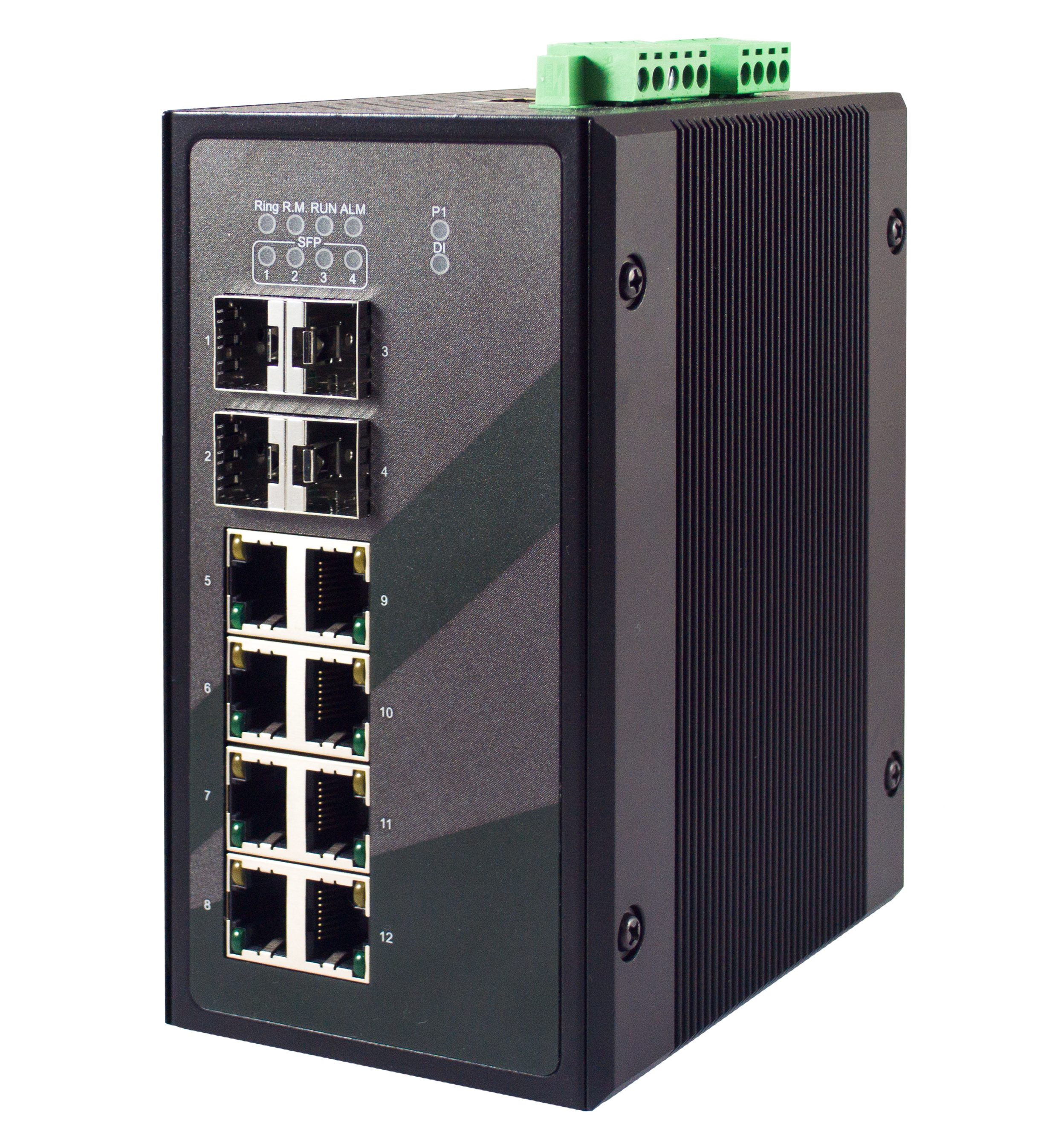 Industrial Rack-Mount Modular Layer-3 Gigabit Ethernet PoE Switch with up to 24 x Gigabit ports and 4 x 10 Gigabit SFP uplink slots, supports MACsec